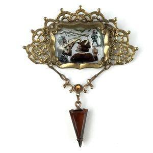 Vintage Framed Painting Filigree Victorian Brooch